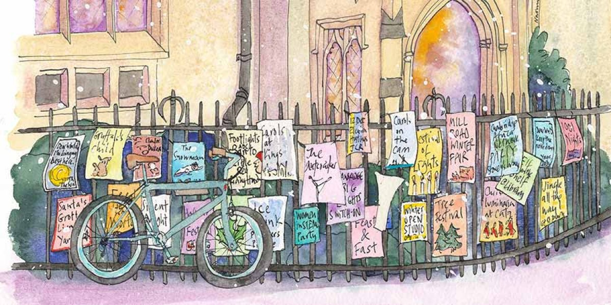 Bikes outside Great St Mary's in winter by Naomi Davies