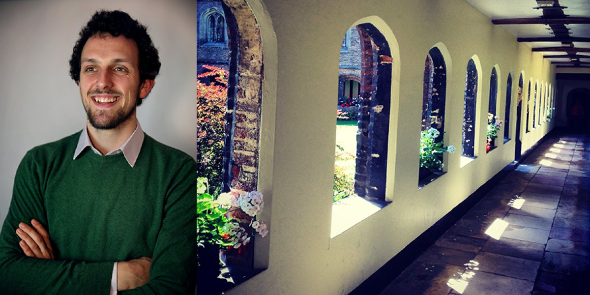 Sebastian Manhart and a corridor at Queens' College