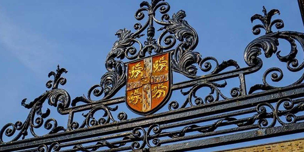 University shield on gate
