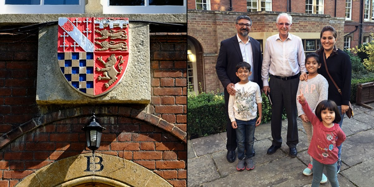 Sir Robert Brian Heap, with Dr Shehzad Jeeva and his wife, Amreen, and their children Amelle, Abran and Sibelle.