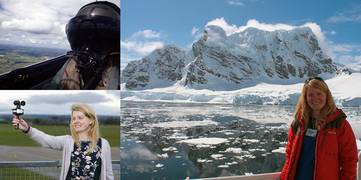 (Top-left) Alison flying; (Bottom-left) Alison as a Meteorologist; (Right) Alison in Antarctica