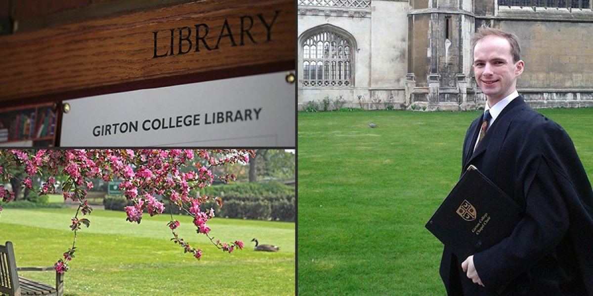 From clockwise: Girton College library, Will outside King's College, Girton College gardens