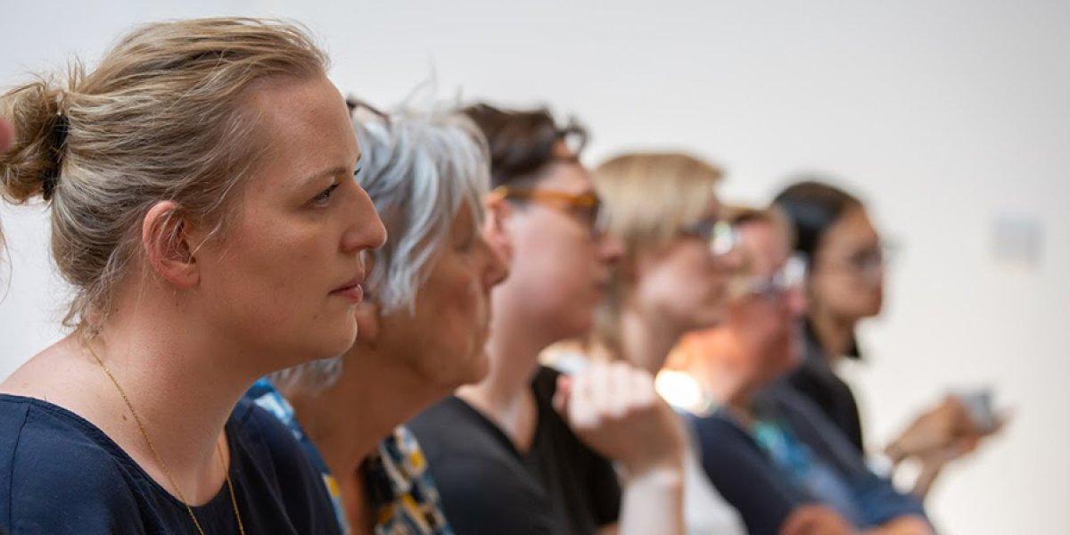 Row of Cambridge students at Crag talk