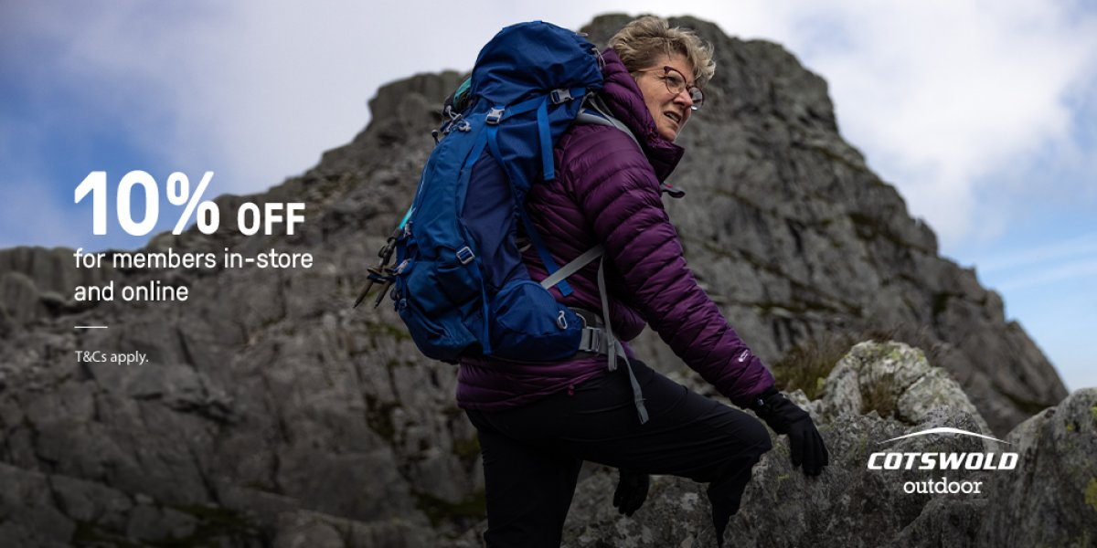 Cotswold Outdoor, lady climbing a mountain