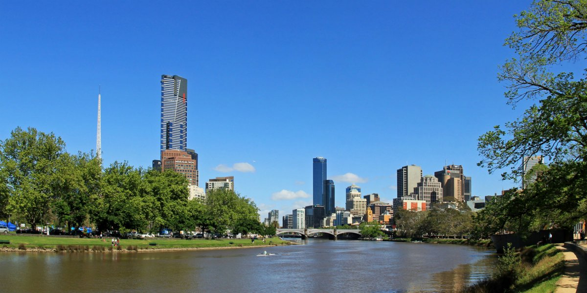 Melbourne Yarra River City Skyline