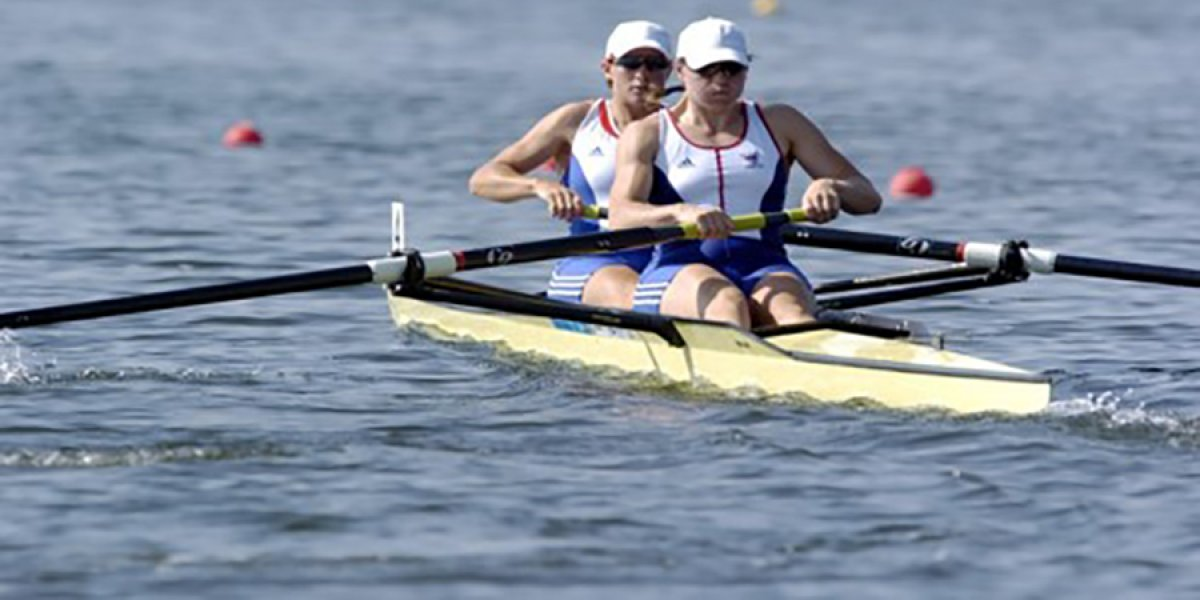 Cath Bishop in 2004 Athens Rowing heat