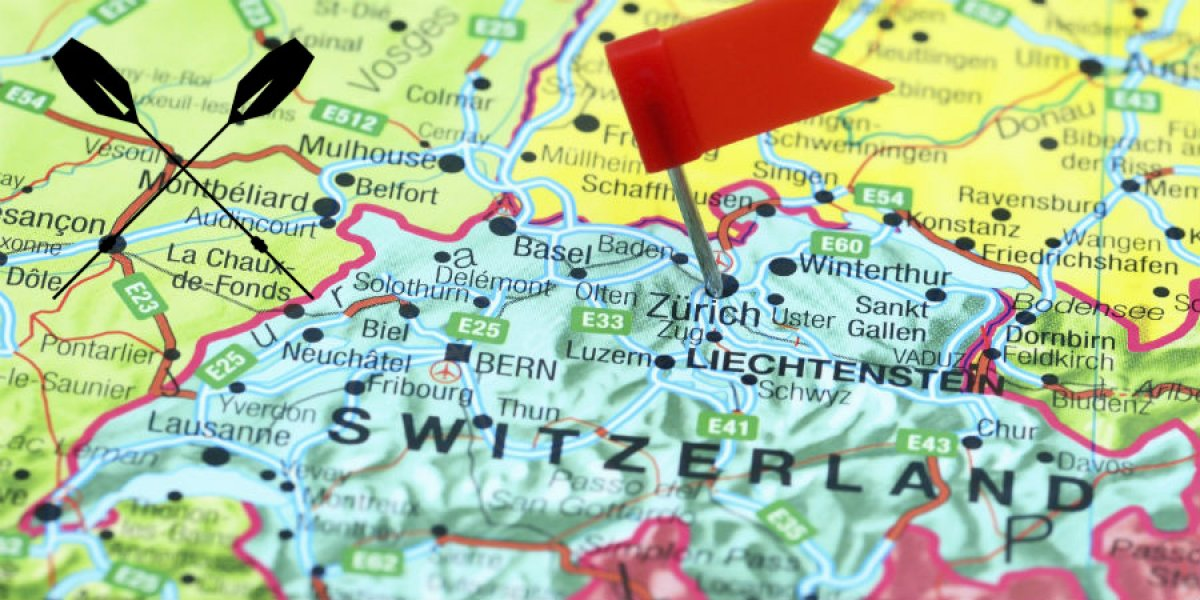 Map of Switzerland, with pin located at Zurich