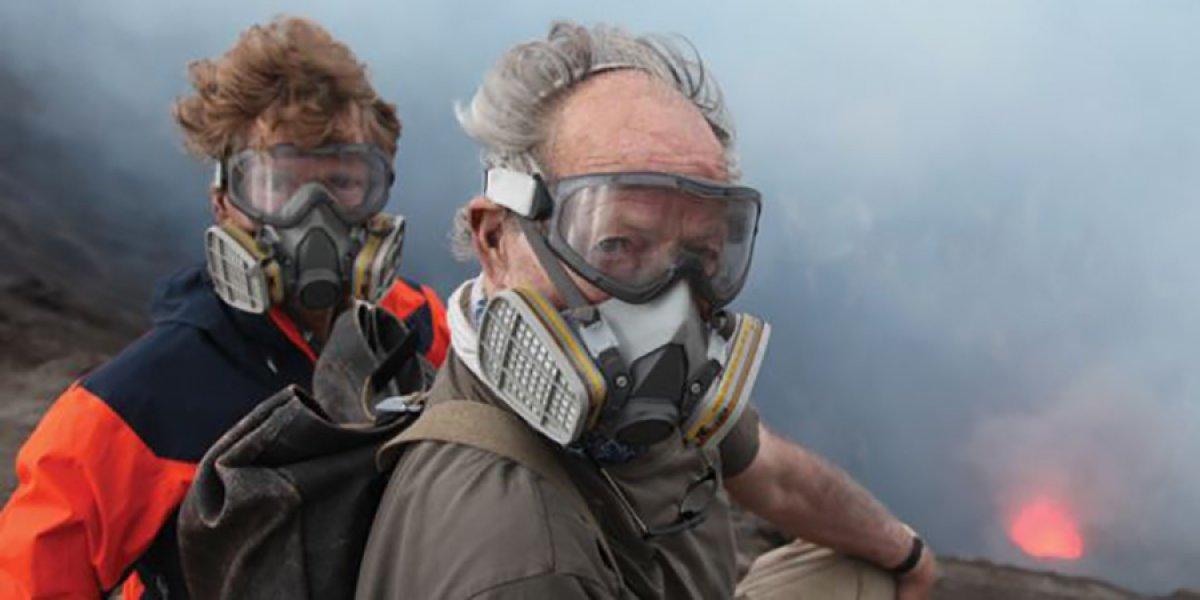 Professor Clive Oppenheimer and Werner Herzog on the rim of a volcano