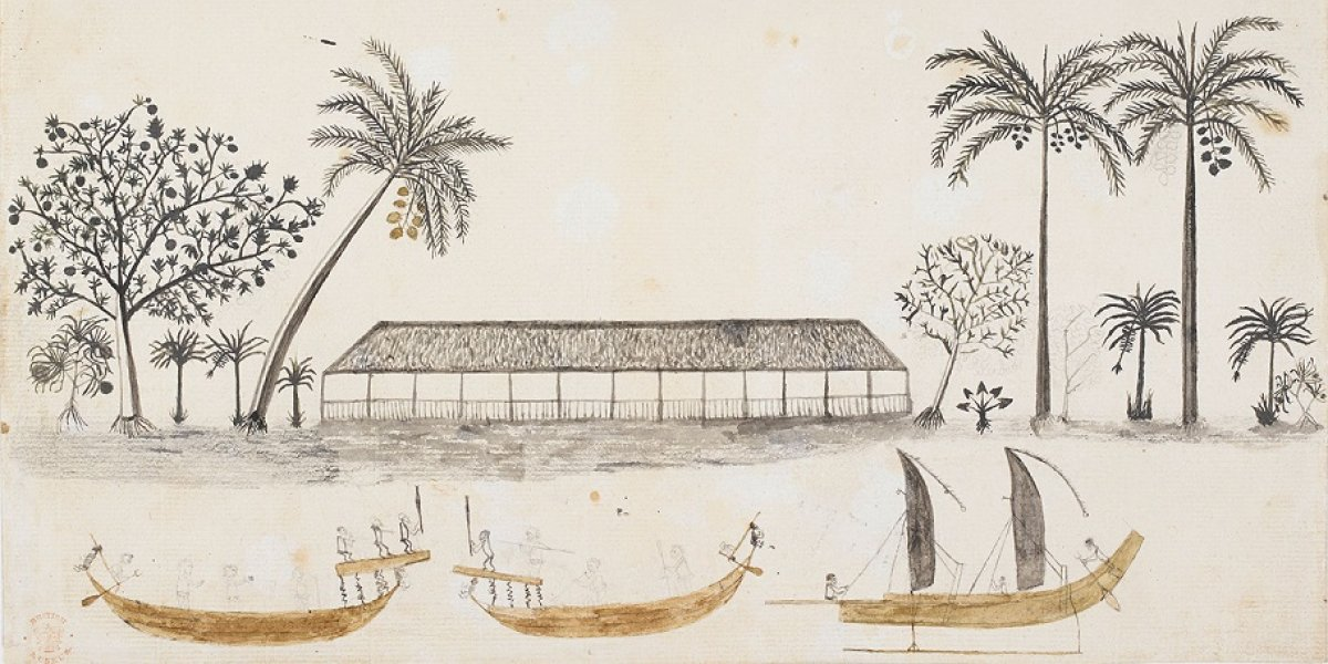 Longhouse and Canoes illustration