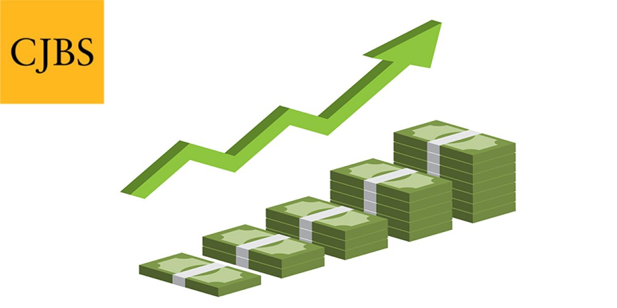 Increasing stack of isometric money with arrow, making profit, revenue growth stock illustration with CJBS logo top left corner