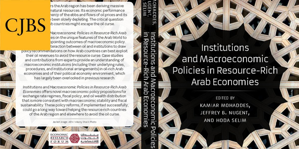 Book cover for Institutions and macroeconomic policies in resource-rich Arab economies with CJBS logo in top left corner