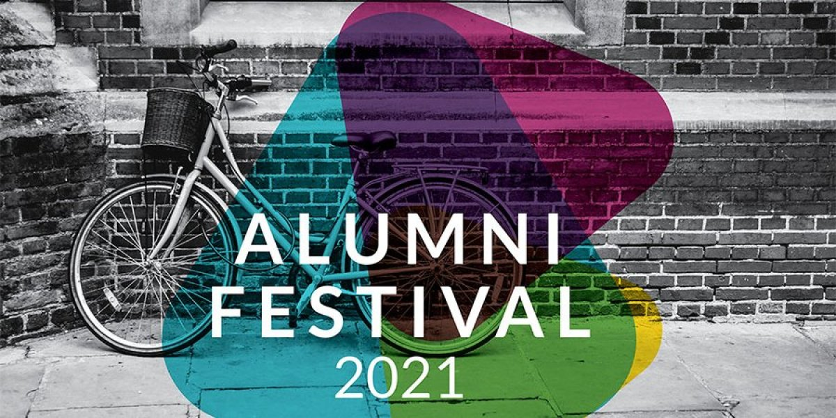 Alumni Festival 2021 - a bicycle stands against a College wall