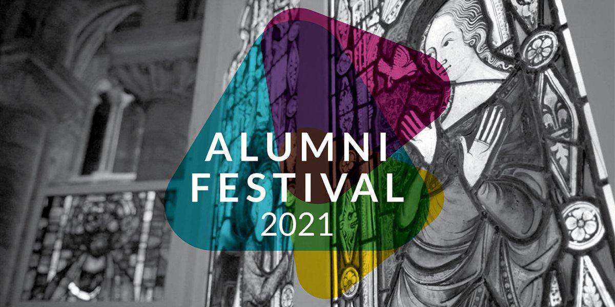 stain glass window with Alumni Festival logo