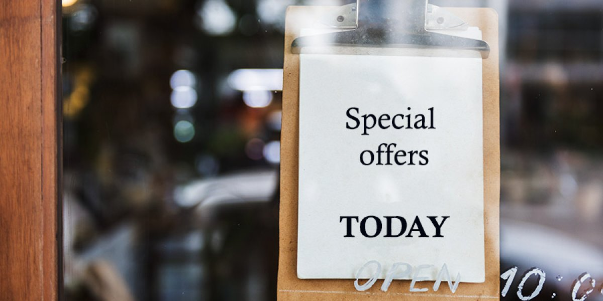 Special offers notice in window