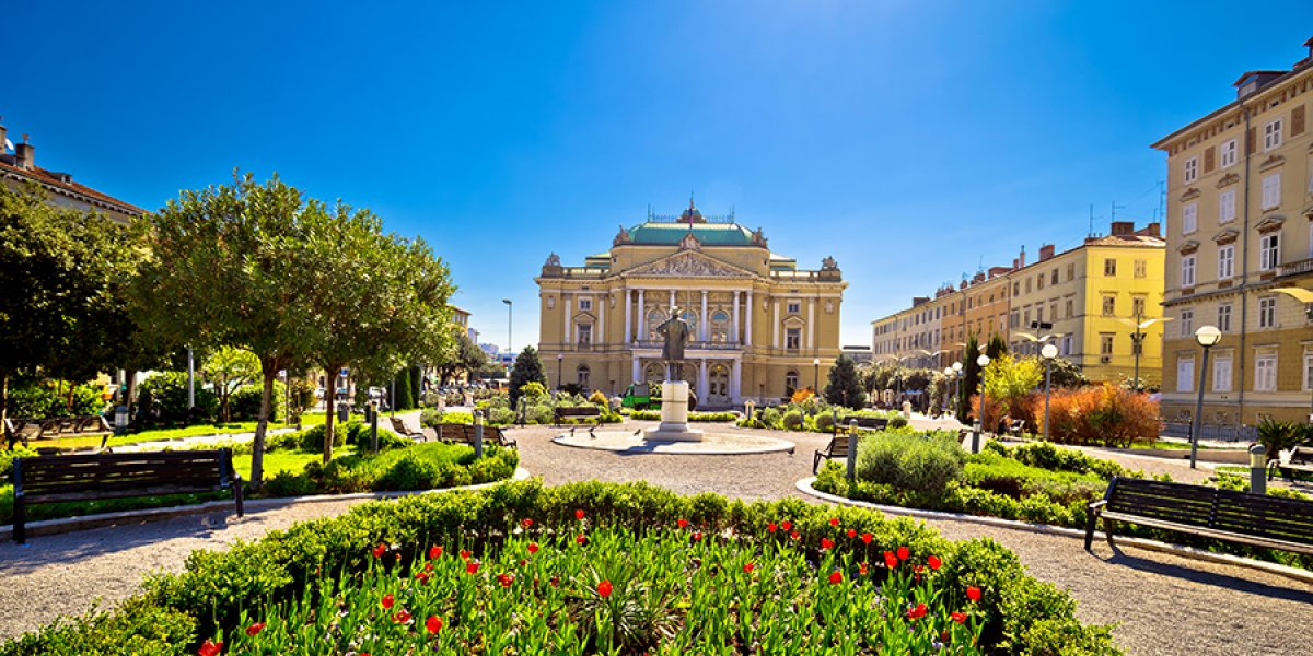 Croatian national theater in rijeka square view fountain and architecture Kvarner bay Croatia