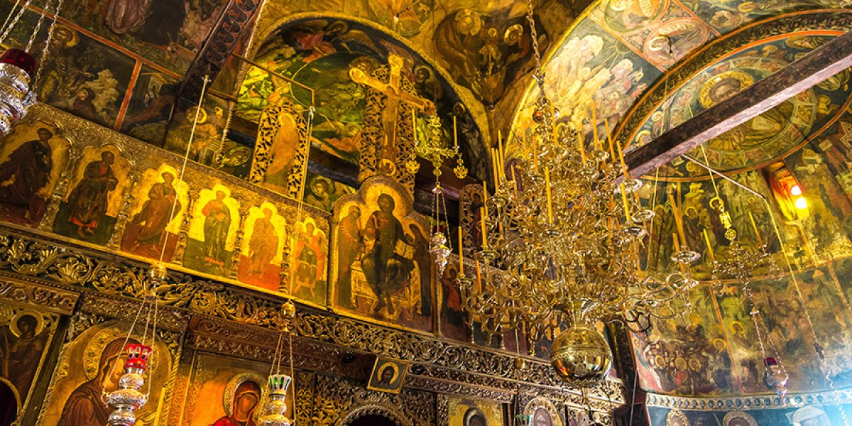 Interior of a monastery in Meteora