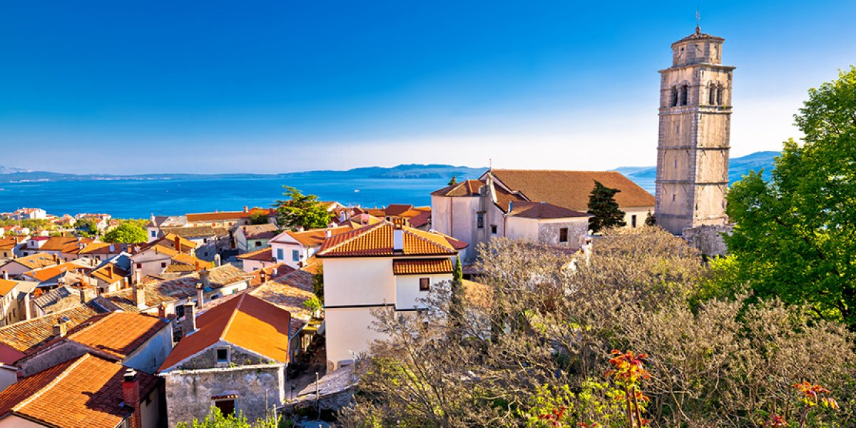 Old town of Kastav above Kvarner bay view opatija riviera of Croatia