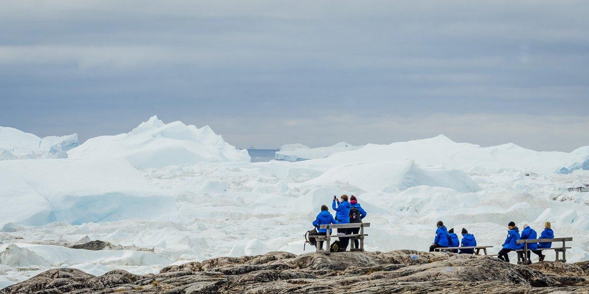 View over Ilulissat Icefjord Disko Bay Greenland by Martin Lipman
