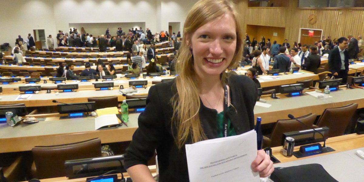 Ruth Blackshaw pictured immediately following the agreement of the 2030 Agenda for Sustainable Development by all 193 UN Member