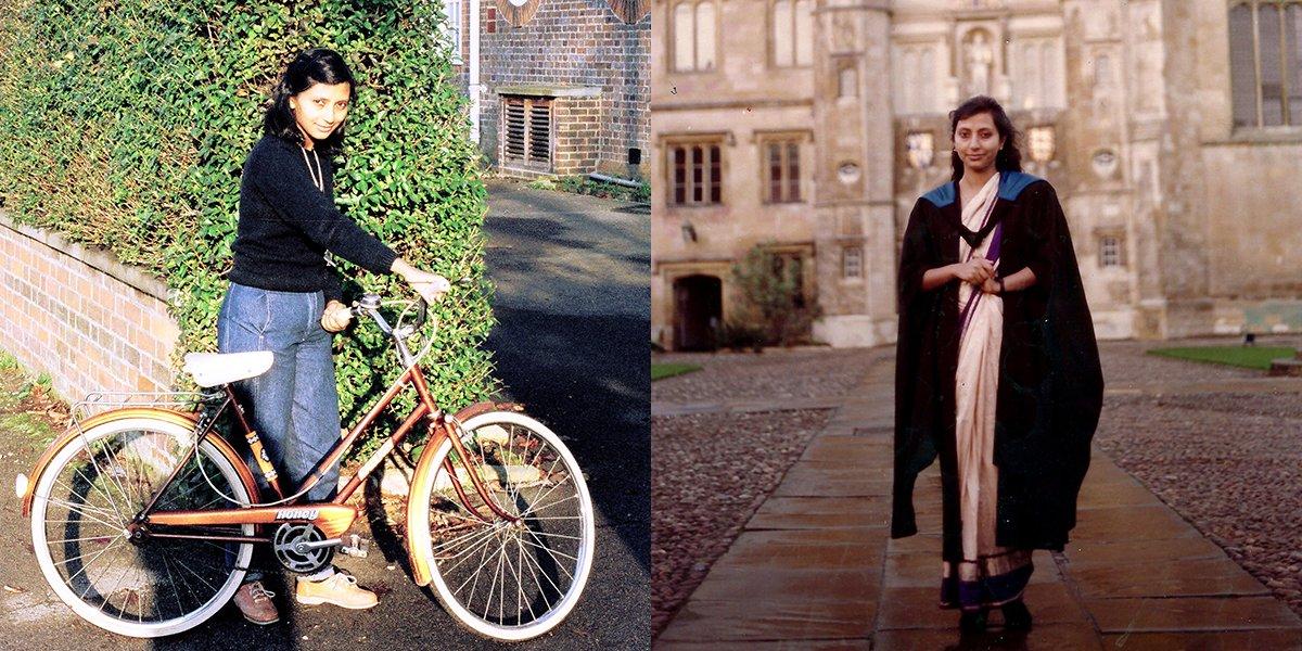 Left: Sumita with her bike 'Honey'; Right: Sumita at graduation.
