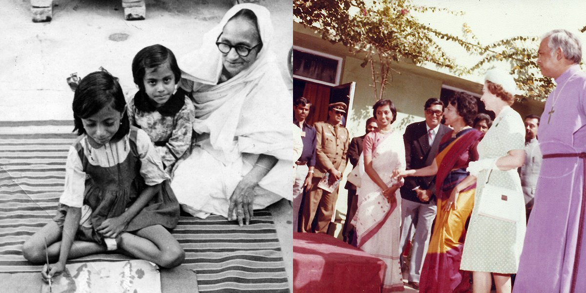 Left: Sumita painting, pictured with her sister and Uncle's mother. Right: Sumita being introduced to HM Queen Elizabeth II just