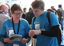 Felicity volunteering at the Festival of Ideas
