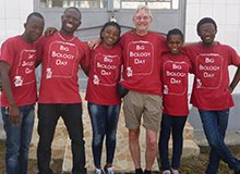 Ian and his team in Sierra Leone wearing Big Biology Day t-shirts