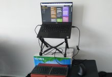 Standing desk made of cardboard boxes