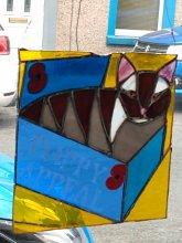 Copper foil glass work of a cat