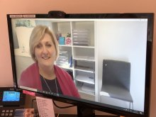 Professor Mary Louise Hull on a Zoom consultation