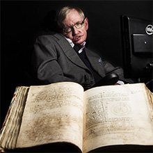 Image: Stephen Hawking pictured with Isaac Newton's own annotated copy of Principia Mathematica. Credit: Graham CopeKoga/Cambrid